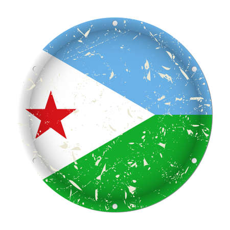 Djibouti - round metallic scratched flag with six screw holes in front of a white background