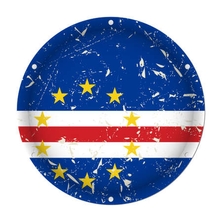 Cape Verde - round metallic scratched flag with six screw holes in front of a white background Vectores