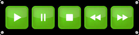 green, white square music control buttons set - five icons in front of a black background with rounded corners and screws