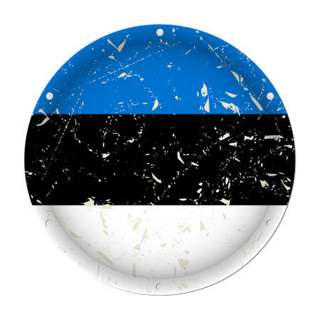 Estonia - round metallic scratched flag with six screw holes in front of a white background