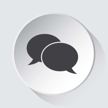 two speech bubbles - simple gray icon on white button with shadow in front of light gray square background