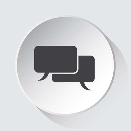 two speech bubbles, simple gray icon on white button with shadow in front of light gray square background