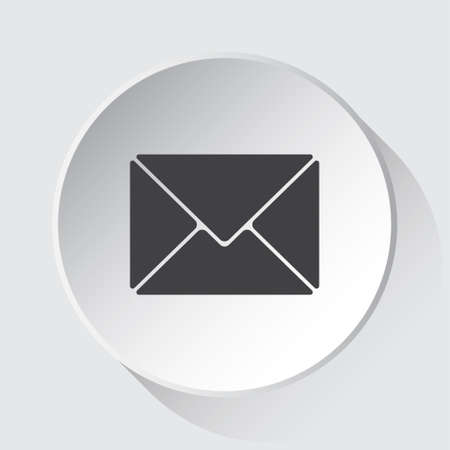 mailing envelope - simple gray icon on white button with shadow in front of light gray square background