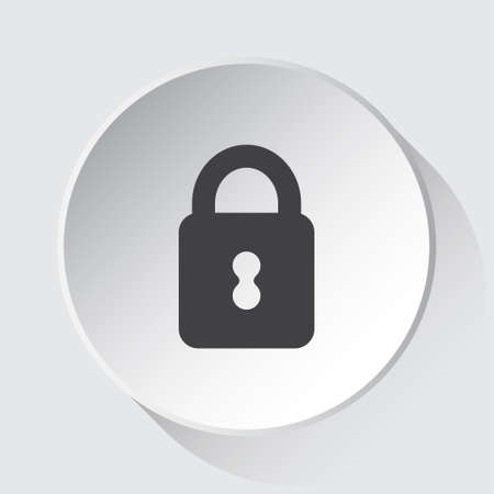 closed padlock - simple gray icon on white button with shadow in front of light gray square background 스톡 콘텐츠 - 124882762