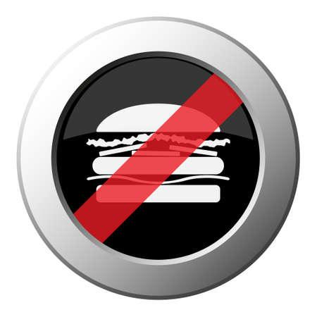 hamburger - ban round metallic push button with white icon on black and diagonal red stripe Иллюстрация