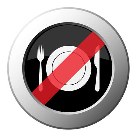 cutlery, fork and knife with plate - ban round metallic push button with white icon on black and diagonal red stripe