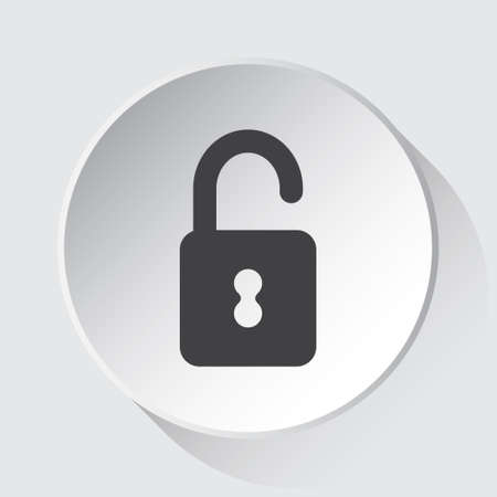 open padlock - simple gray icon on white button with shadow in front of light gray square background Иллюстрация