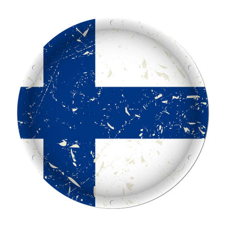 Finland - round metallic scratched flag with six screw holes in front of a white background Иллюстрация