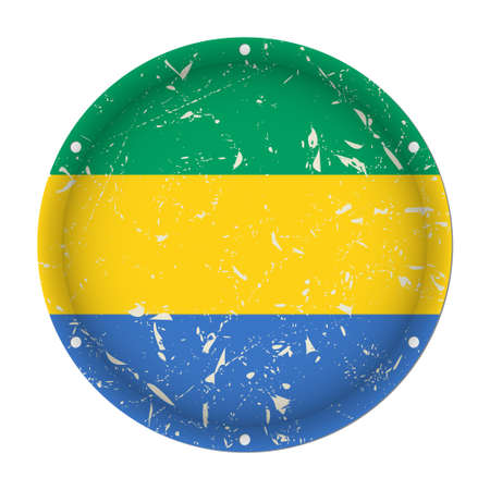 Gabon - round metallic scratched flag with six screw holes in front of a white background Иллюстрация