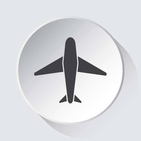 airliner - simple gray icon on white button with shadow in front of light gray square background 일러스트