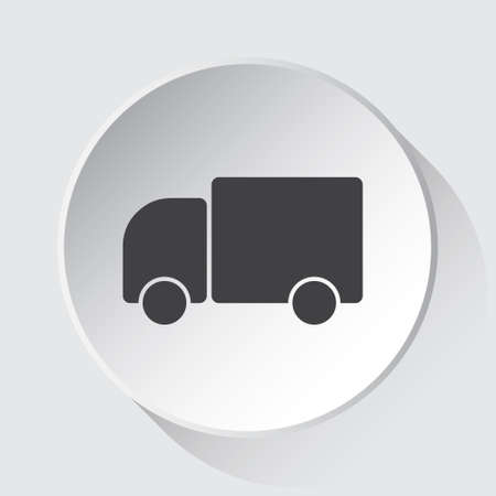 lorry car - simple gray icon on white button with shadow in front of light gray square background Фото со стока - 124882777
