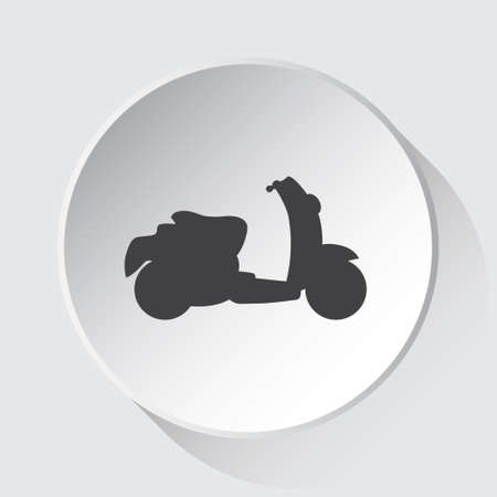 scooter - simple gray icon on white button with shadow in front of light gray square background