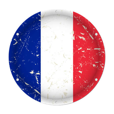 France - round metallic scratched flag with six screw holes in front of a white background