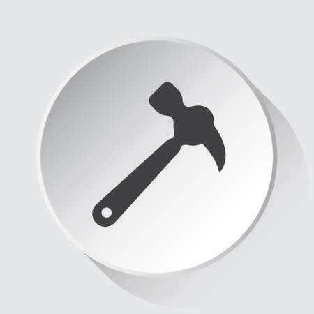 claw hammer - simple gray icon on white button with shadow in front of light gray square background Иллюстрация