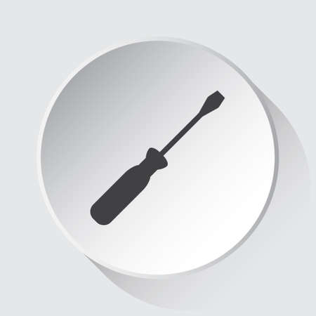 screwdriver - simple gray icon on white button with shadow in front of light gray square background