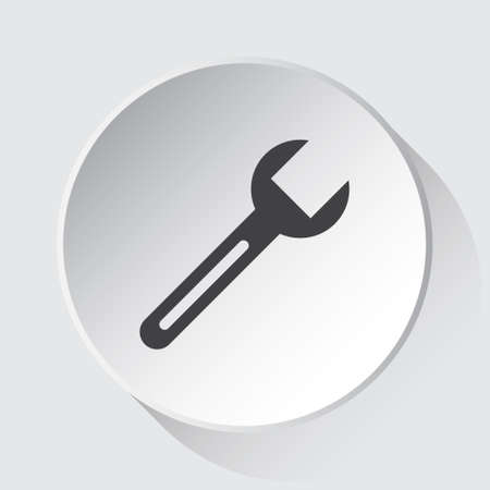 spanner, simple gray icon on white button with shadow in front of light gray square background