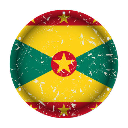 Grenada - round metallic scratched flag with six screw holes in front of a white background Иллюстрация
