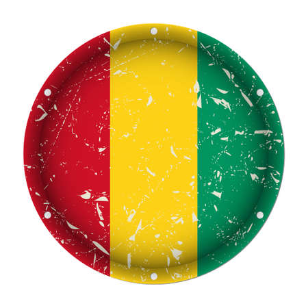 Guinea - round metallic scratched flag with six screw holes in front of a white background Иллюстрация