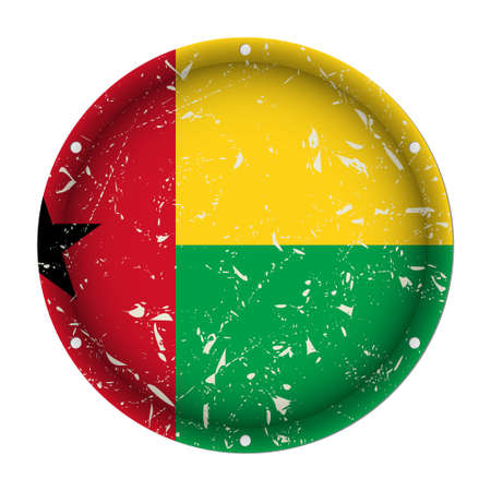 Guinea-Bissau - round metallic scratched flag with six screw holes in front of a white background