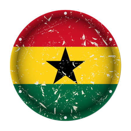 Ghana - round metallic scratched flag with six screw holes in front of a white background Иллюстрация