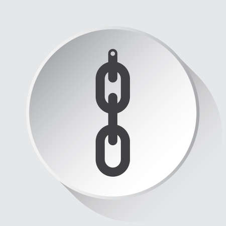hanging chain with hole - simple gray icon on white button with shadow in front of light gray square background