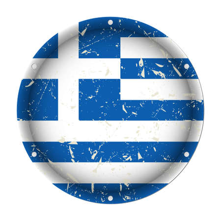 Greece - round metallic scratched flag with six screw holes in front of a white background