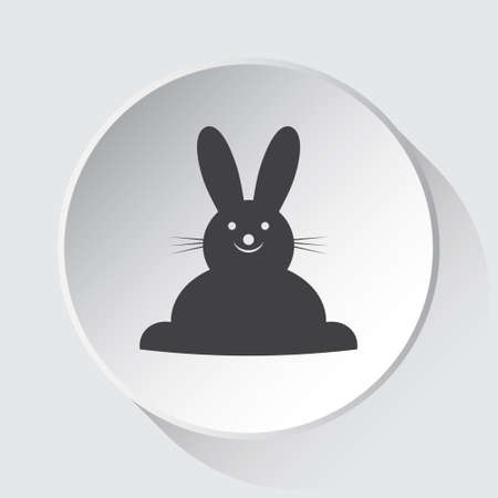 happy smiling rabbit, front view - simple gray icon on white button with shadow in front of light gray square background