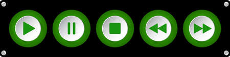 green, white round music control buttons set - five icons in front of a black background with rounded corners and screws Иллюстрация