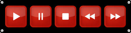 red, white square music control buttons set - five icons in front of a black background with rounded corners and screws