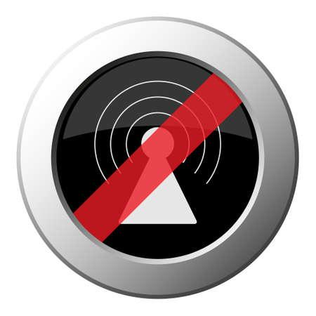 transmitter tower - ban round metallic push button with white icon on black and diagonal red stripe