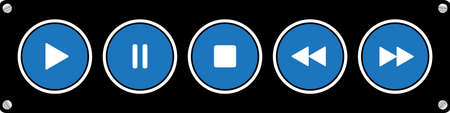 blue, white round music control buttons set - five icons in front of a black background Иллюстрация