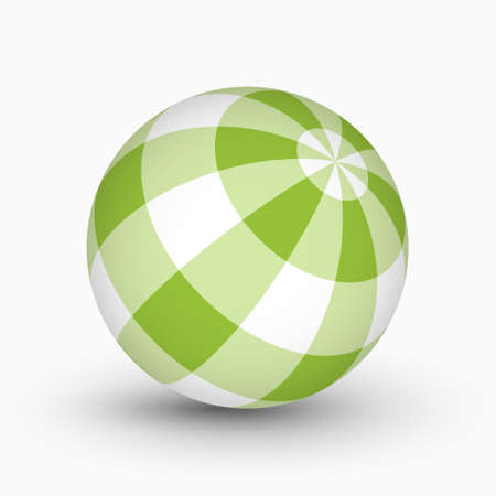 green and white tartan, plaid ball with shadow in front of a white background 矢量图像