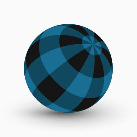 blue and black tartan, plaid ball with shadow in front of a white background Иллюстрация