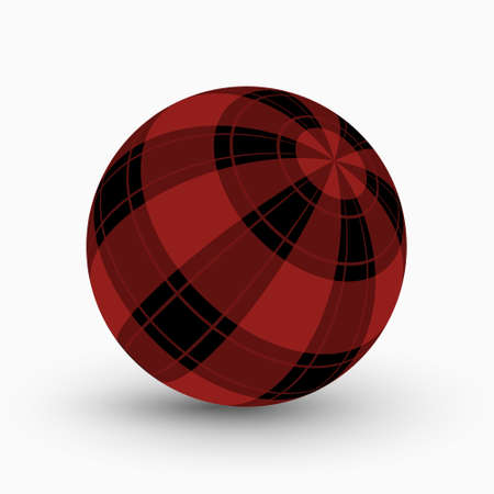 red and black tartan, plaid ball with translucent red stripes and shadow in front of a white background