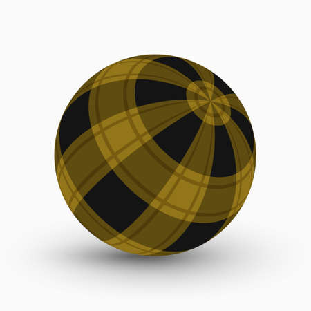yellow and black tartan, plaid ball with translucent ocher stripes and shadow in front of a white background
