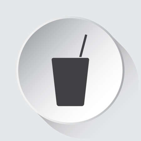 drink with straw - simple gray icon on white button with shadow in front of light gray square background Ilustração