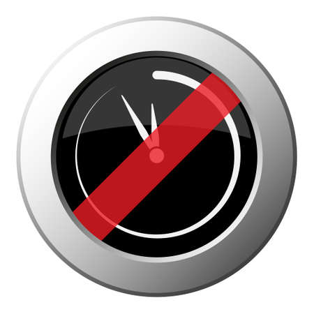 last minute clock - ban round metallic push button with white icon on black and diagonal red stripe Ilustrace