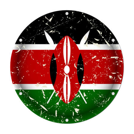 Kenya - round metallic scratched flag with six screw holes in front of a white background
