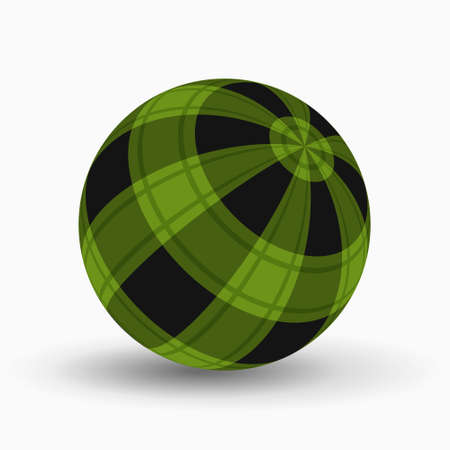 green and black tartan, plaid ball with translucent green stripes and shadow in front of a white background