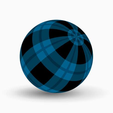 blue, azure and black tartan, plaid ball with translucent blue stripes and shadow in front of a white background 向量圖像