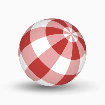 red and white tartan, plaid ball with shadow in front of a white background