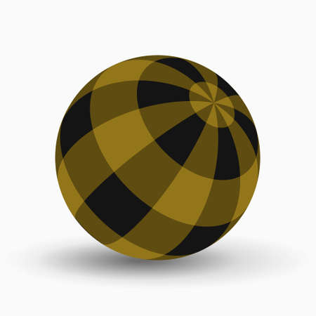 yellow, ocher and black tartan, plaid ball with shadow in front of a white background