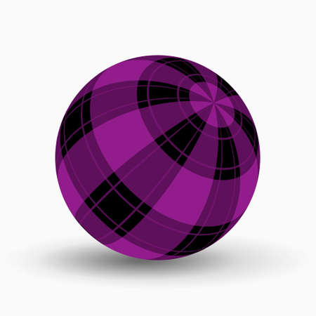 purple and black tartan, plaid ball with translucent violet stripes and shadow in front of a white background