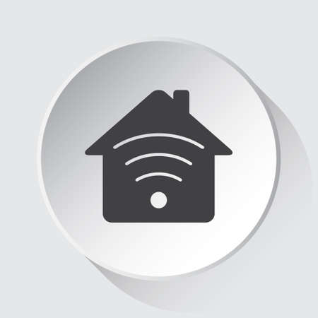 house with signal - simple gray icon on white button with shadow in front of light gray square background