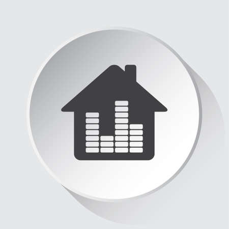 house with equalizer - simple gray icon on white button with shadow in front of light gray square background 向量圖像