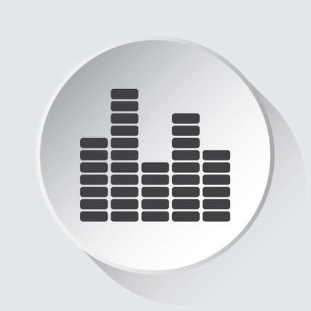 mixing console, equalizer symbol - simple gray icon on white button with shadow in front of light gray square background