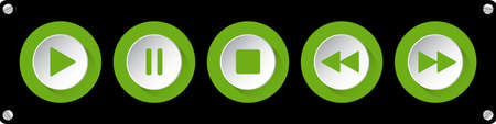 green, white round music control buttons set - five icons in front of a black background with rounded corners and screws 向量圖像