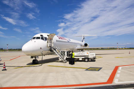 BARI, ITALY -APRIL 14: Tap, Iberia, Easyjet, Swiftair and Ryanair cancelled 59 flights between Spain and Portugal due to the controllers Strike. A Swiftair aircraft at the Karol Wojtyła Airport on April 14, 2012 in Bari, Italy.