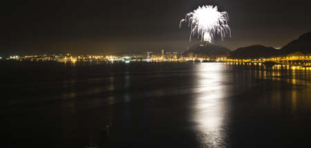Palm Tree Fireworks from Santa Barbara Castle on the 23th  of June (Saint John), Alicante - Spain  photo
