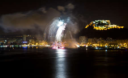 Fireworks during the night on the beach on the 23th  of June (Saint John), Alicante - Spain  photo